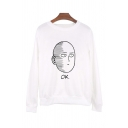 Unisex Letter OK Comic Figure Print Crew Neck Long Sleeve White Loose Pullover Sweatshirt