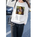 Spoof Popular Character Painting Patch White Long Sleeve Pullover Sweatshirt