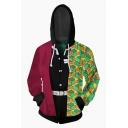 Mens Popular Character Cosplay Costume Geo Panel Long Sleeve Zip Up Drawstring Hoodie