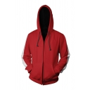 Mens Classic Red Striped Panel Long Sleeve Zip Up Drawstring Hoodie Cosplay Costume