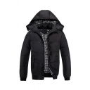 Mens Fashionable Plaid Lined Long Sleeve Zip Up Hooded Down Coat with Pocket