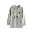 Girls Lovely Cat Pattern Long Sleeve Pouch Pocket Baggy Drawstring Hoodie