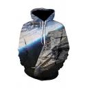 Mens Cool Space 3D Printed Long Sleeve Casual Pullover Hoodie in Black
