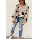 Womens Leisure Black Stars Pattern V Neck Lantern Long Sleeve Khaki Loose Pullover Sweater