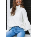 Female Whole Colored Bishop Long Sleeve Turtleneck Loose Fit Pullover Sweater