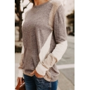 Womens Simple Gray Geometric Printed Long Sleeve Cozy Pullover Knitted Sweater Top