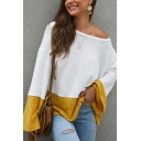Womens Sexy Two-Tone Panel Flared Long Sleeve Oversized Thin Pullover Sweater