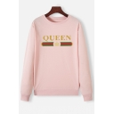 Hot Sale QUEEN Crown Print Long Sleeve Loose Fit Pullover Graphic Sweatshirt