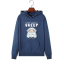 Letter I DON'T GIVE A SHEEP Printed Long Sleeve Pouch Pocket Pullover Graphic Hoodie