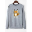 Womens Casual Letter LOOK AT ALL THE FOX I GIVE Print Crew Neck Outdoor Graphic Sweatshirt