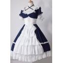 Girls Popular Lace Stitching Short Sleeve Gathered Waist Color Block Midi Cosplay Lolita Dress