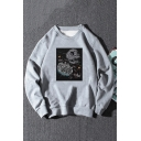 Womens Popular Planet War Printed Long Sleeve Oversized Casual Sweatshirt