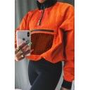 Orange Lapel Collar Half-Zip Long Sleeve Fishnet Paneled Zipper Pocket Loose Fit Sweatshirt