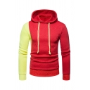 Fashionable Color Block Single Sleeve Two-Tone Fitted Drawstring Hoodie for Men