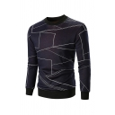 Unique Geo Lines Printed Crew Neck Long Sleeve Fitted Thicken Pullover Sweatshirt Knitwear