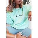 Light Green Funny Letter EMMMMM Printed Long Sleeve Round Neck Loose Pullover Sweatshirt