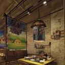 Green House Pendant Lamp Vintage 1 Light Resin Hanging Light with Metal Chain for Restaurant