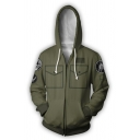 Army Green 3D Printing Cosplay Costume Long Sleeve Zip Up Drawstring Hoodie with Pocket