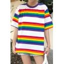 Girls Chic Rainbow Stripe Round Neck Half Sleeve Casual Loose Tee Top