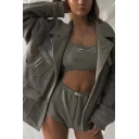 Womens Casual Grey Solid Checked Embossed Long Sleeve Multi-Pocket Single Breasted Loose Overcoat