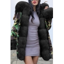 Winter New Arrival Warm Camo Printed Gathered Waist Faux Fur Long Parka Hooded Coat