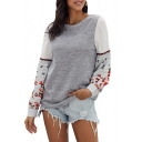 Womens Fashion Color Block Embroidery Floral Long Sleeve Keyhole Back Round Neck Pullover Sweatshirt