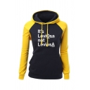 Casual IT'S LEVIOSA NOT LEVIOSA Printed Colorblock Drawstring Hood Slim Fit Pullover Hoodie with Pocket