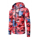 Mens Classic Camo Printed Long Sleeve Zip Up Slim Fit Drawstring Hoodie with Pocket