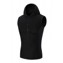 Mens Fashionable Plain Button Fly Slim Fit Sleeveless Hoodie