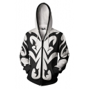 Mens Retro Floral Printed Long Sleeve Zipper Black and White Cosplay Hoodie
