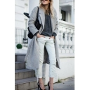 Womens Simple British Style Notch Lapel Gray Solid Color Thick Longline Wool Coat