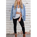 Womens Stylish Single Breasted Long Sleeve Short Plain Light Blue Denim Jacket Coat