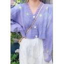 Womens Elegant Purple Floral Printed Long Sleeve Crop Loose Knitwear Cardigan Two Piece Set
