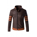 Mens Trendy Color Block Striped Long Sleeve Stand Collar Zip Up Brown Faux Leather Motor Jacket