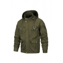 Mens Fashion Star Badge Applique Long Sleeve Stand Up Collar Army Green  Zip Up Cargo Jacket with Drawstring Hood