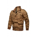 Mens Popular Lapel Collar Long Sleeve Multi-Pocket Zipper Front Solid Workwear Military Jacket