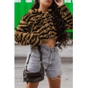 Womens Petite Tiger Faux Fur Long Sleeve Lapel Collar Button Through Crop Jacket