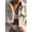 Womens Warm Long Sleeve Single Breasted Plain Loose Cropped Sherpa Jacket with Pocket