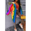Stylish Rainbow Vertical Stripes Printed Long Sleeve Longline Outdoor Windbreaker Trench Coat with Hood