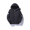 Mens Warm Black Plain Applique Embellished Long Sleeve Zip Up Heavyweight Puffer Coat with Hood