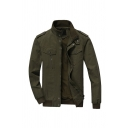 Mens Plain Stand Collar Epaulets Decoration Long Sleeve Zip Up Cargo Jacket in Army Green