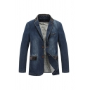 Mens Vintage Blue Plus Size Notch Collar Single Breasted Loose Denim Jacket Blazer