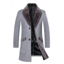 Mens Charming Color Block Lapel Collar Long Sleeve Double Button Longline Wool Overcoat Trench Coat with Pocket