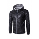 Mens Fashionable Long Sleeve Contrast Zipper Trim Diamond Quilted PU Leather Fitted Hooded Jacket Coat