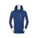 Men's Fashion Blue and White Striped Panel Long Sleeve Zip Up Hooded Casual Windbreaker Sports Jacket