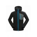 Male Stylish Colorblock Panel Long Sleeve Zip Closure Slim Fit Black Casual Hooded Windbreaker Jacket