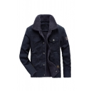 Mens Casual Long Sleeve Lapel Collar Snap Button Down Thick Work Jacket in Royal Blue