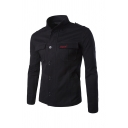 Mens Fashion Letter Embroidery Flap Pocket High Collar Single Breasted Long Sleeve Slim Fit Casual Jacket