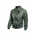 Mens Simple Applique Long Sleeve O-Ring Zip Front Quilted Lined Loose MA-1 Flight Jacket with Pocket