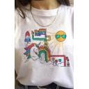 Girls Trendy Colorful Unicorn Glasses Sun Cartoon Pattern Short Sleeve White Loose Casual Tee Top